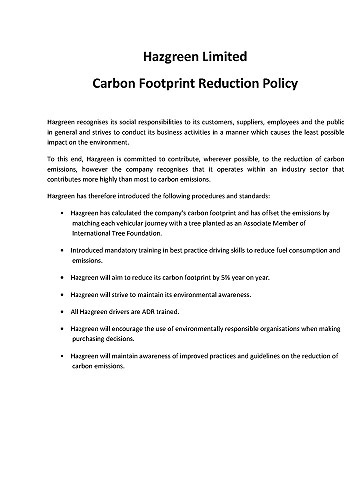 Carbon Footprint Reduction Policy