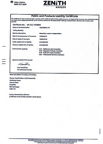 Public Liability Certificate