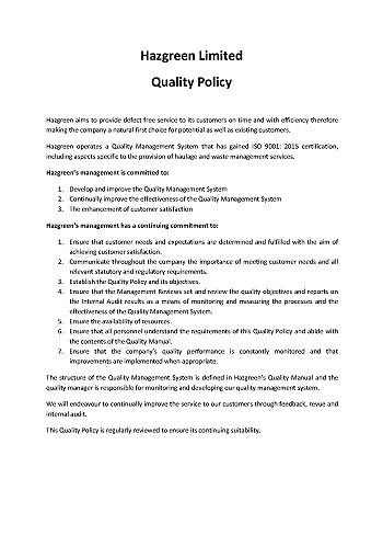Hazgreen Quality Policy