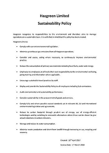 Hazgreen Sustainability Policy