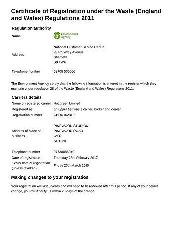 Waste Carrier Reg. Certificate