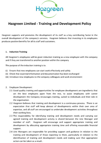 Training and Development Policy